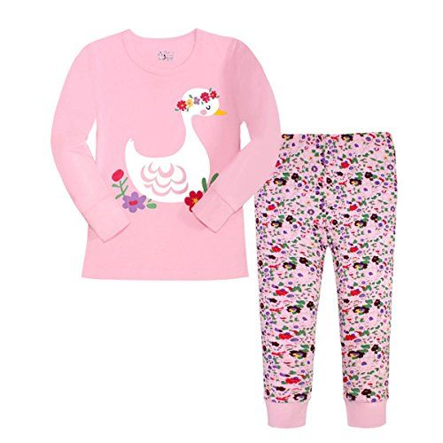 ddd25b64eb Czofnjesi Girls Pajamas Graceful Swans Children Pjs Kids Rib Long Sleeves  Cotton Clothes Set