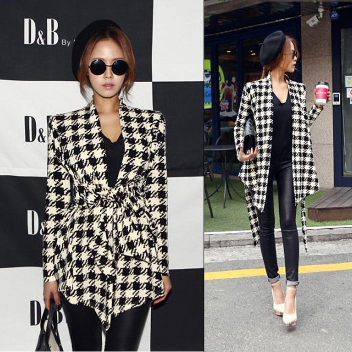 shop for Korean Style Cool Slim Houndstooth Cardigan Coat and more for everyday cheap prices at Lalalilo.com - Your Online Womens Clothes Store