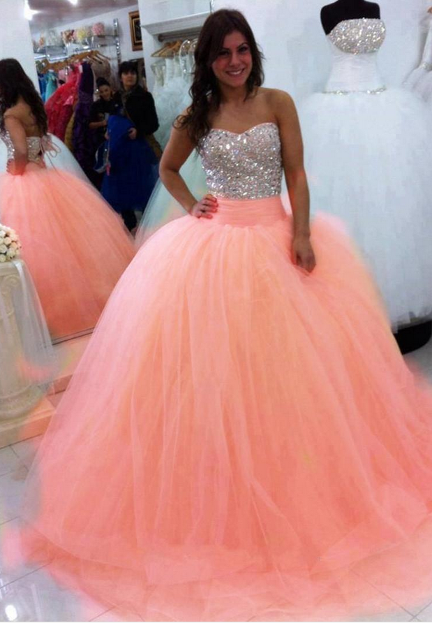 New Ball Gown Peach Floor Length Quinceamera Dresses Sweetheart ...