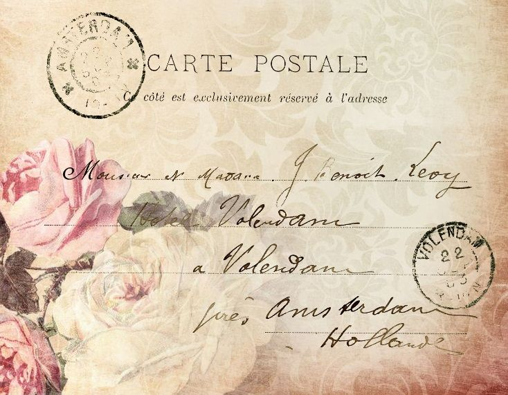 Pink rose French postcard with handwriting, vintage