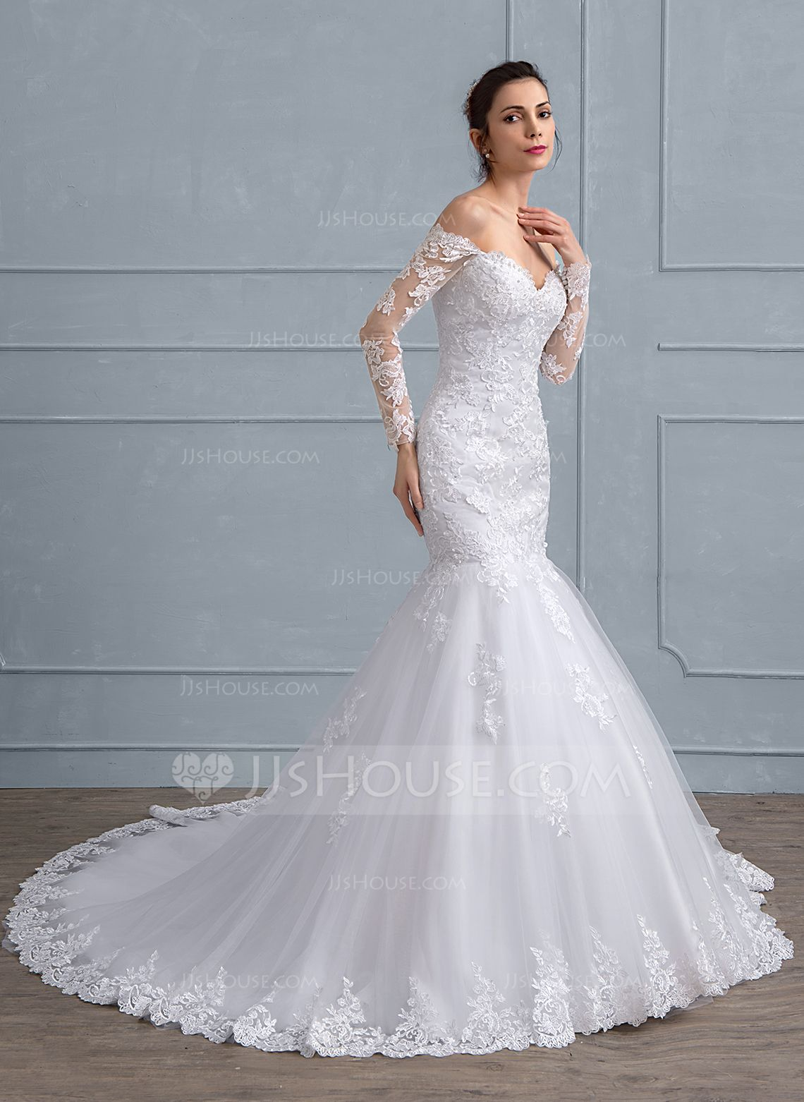 Us 298 00 Trumpet Mermaid Off The Shoulder Chapel Train Tulle Lace Wedding Dress With Beading Sequins Jj S House Wedding Dresses Top Wedding Dresses Wedding Dresses Lace [ 1562 x 1140 Pixel ]