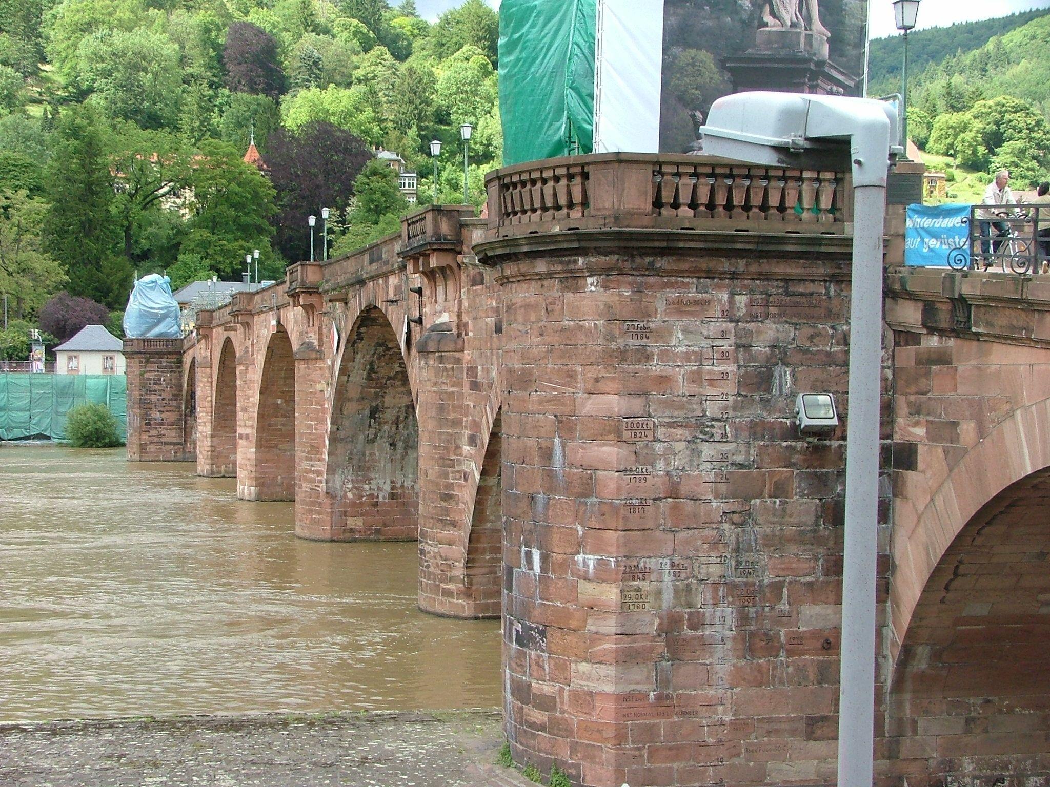 Old Heidelberg bridge in Heidelberg, Germany. Had replaced a wooden bridge occupying same site since 1284.