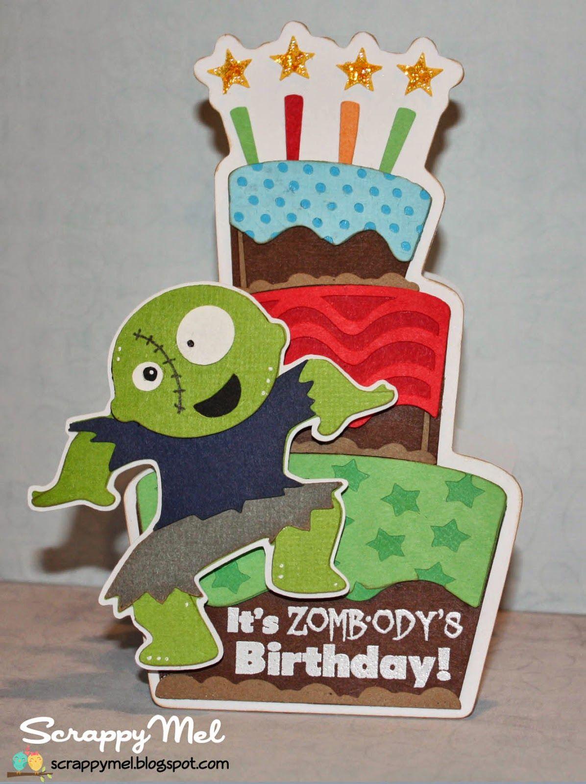 Scrappy Mel Zombie Birthday Card Zombie Birthday Parties Birthday Cards For Men Zombie Birthday