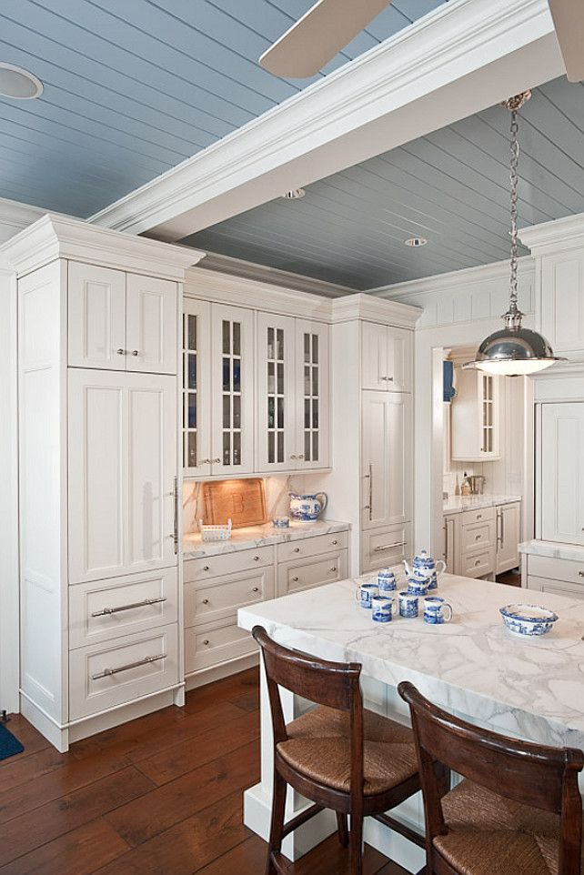 Love The Blue Gray Ceiling White Kitchen Design Kitchen