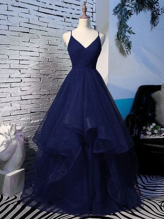 Pretty Navy Blue Tulle Layers Straps Long Party Dress, Blue Prom Dress