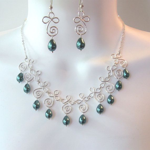 Teal Bib Necklace Set  Wire Work Spiral Drops  by NewCreations1, $42.50