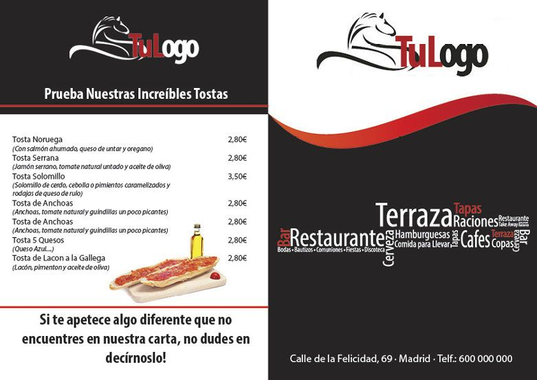 plantilla para descargar carta menu restaurante | Carta ...