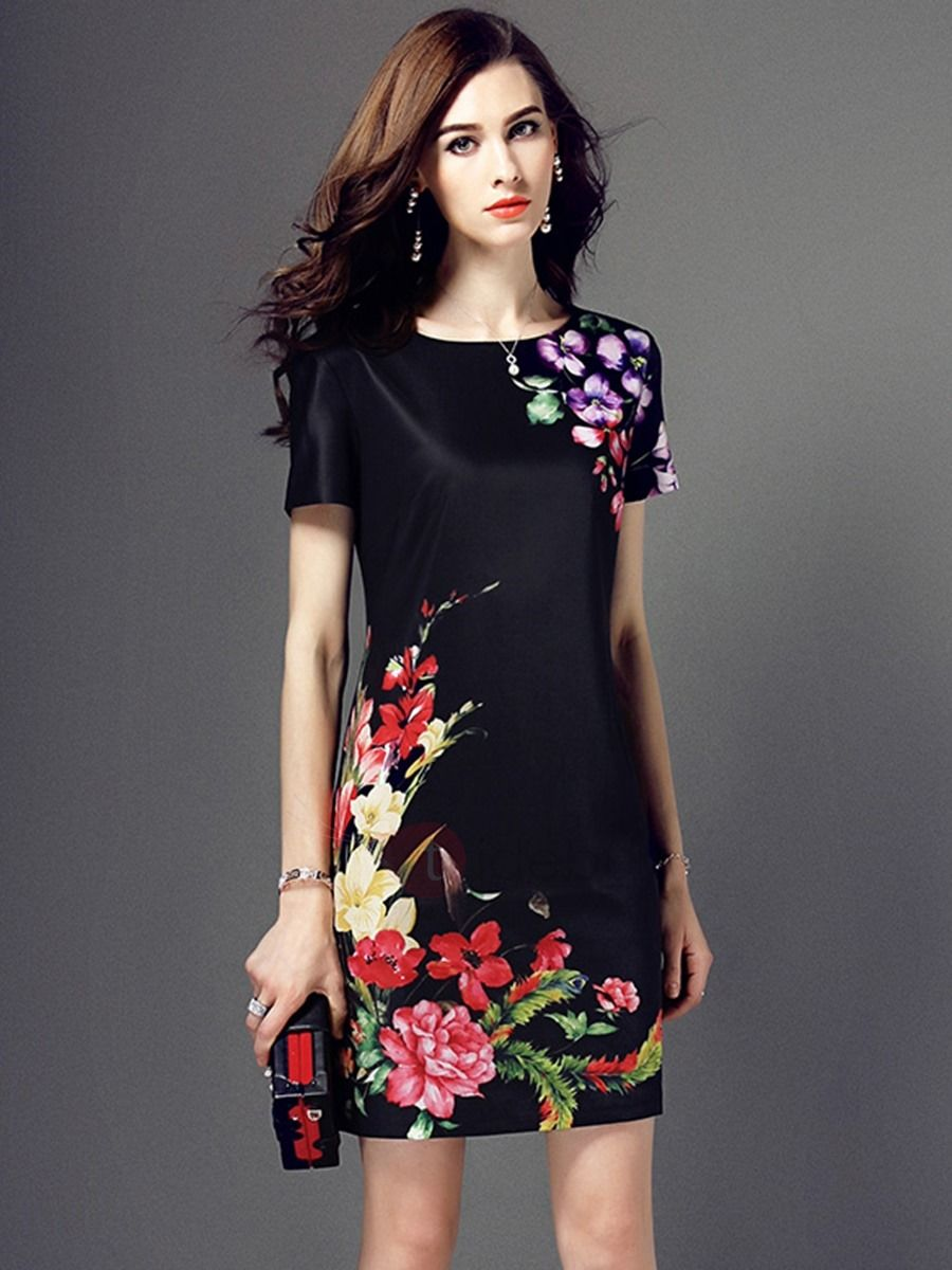 Short sleeve dresses for wedding guests  Floral Print Short Sleeve Work Dress  Short sleeves Floral and Shorts