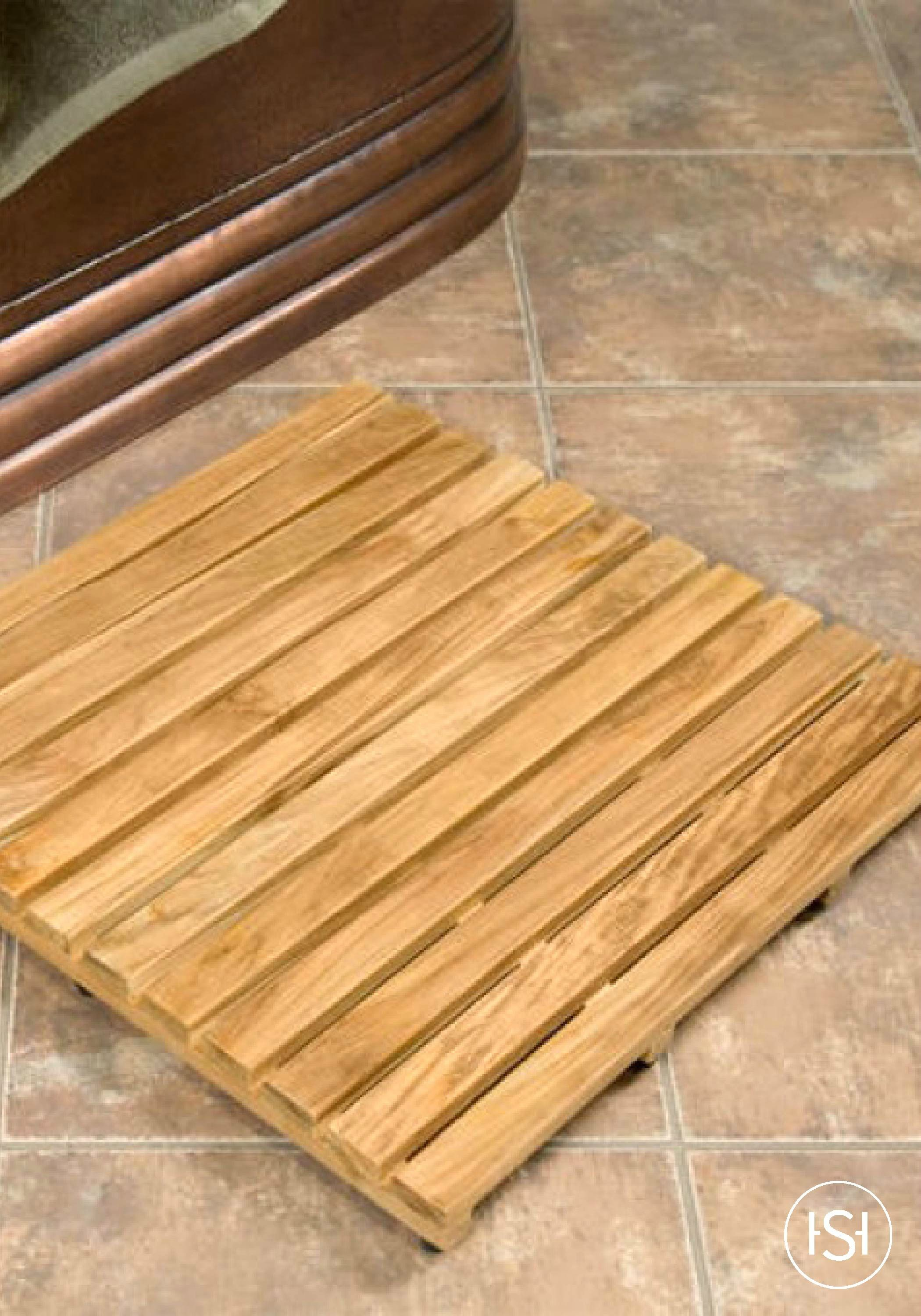 Add an earthy feel to your master bathroom with the spa-like feel of a teak shower mat. It is the perfect bathroom accessory for use both in and out of showers and beside freestanding bathtubs.
