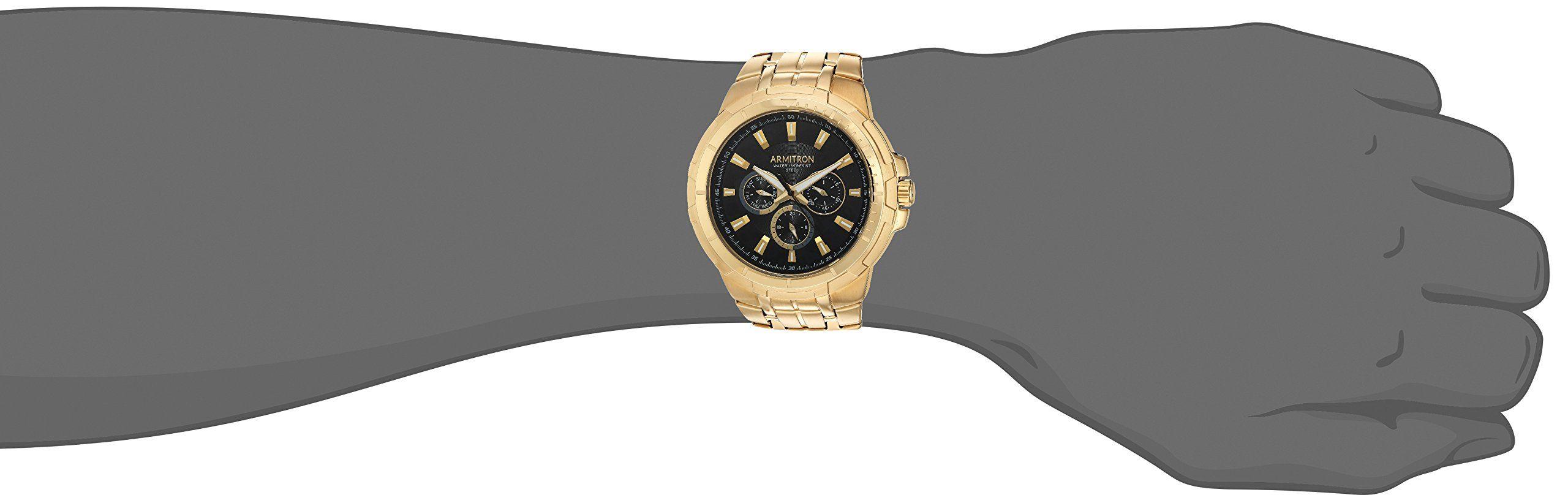 Mens 205144bkgp Multifunction Bracelet Armitron Goldtone Watch Dial 8wPk0On