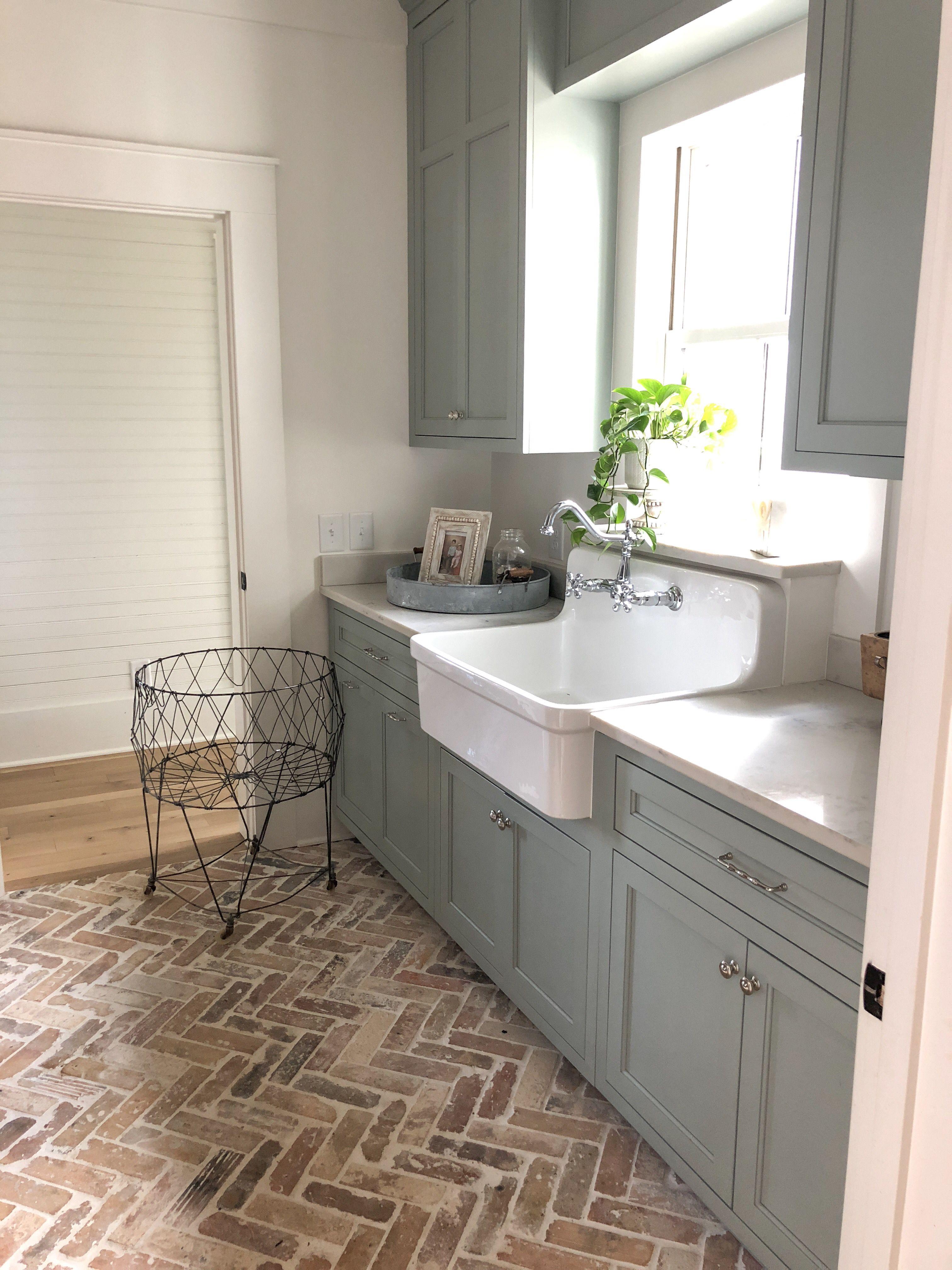 Farmhouse Laundry Room Brick Flooring Brick Floor Kitchen