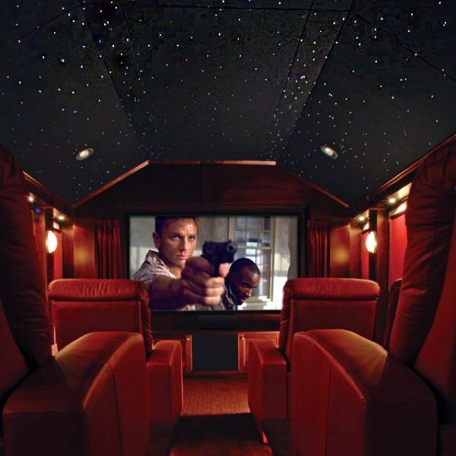 Theater with starry sky ceiling | At home movie theater ...