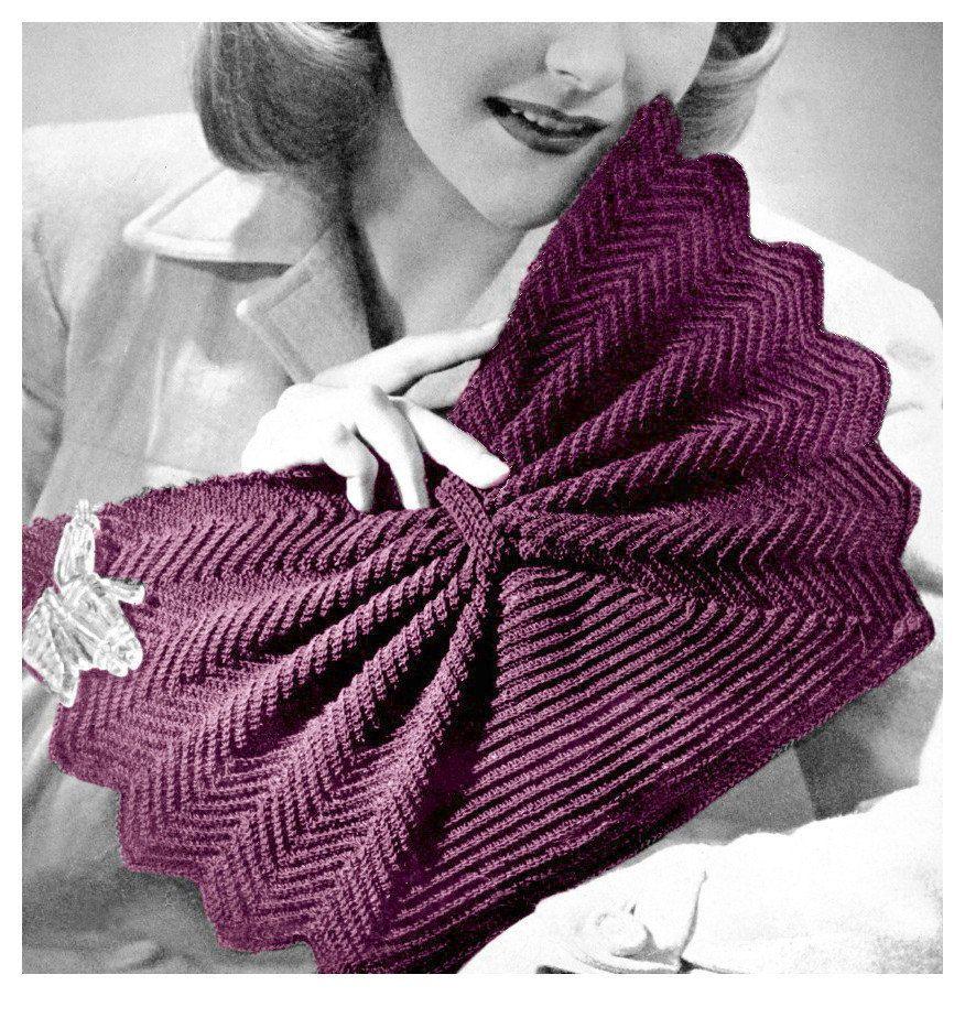 1940s Crochet Pattern Fan Shape Purse Crocheted Clutch Handbag ...
