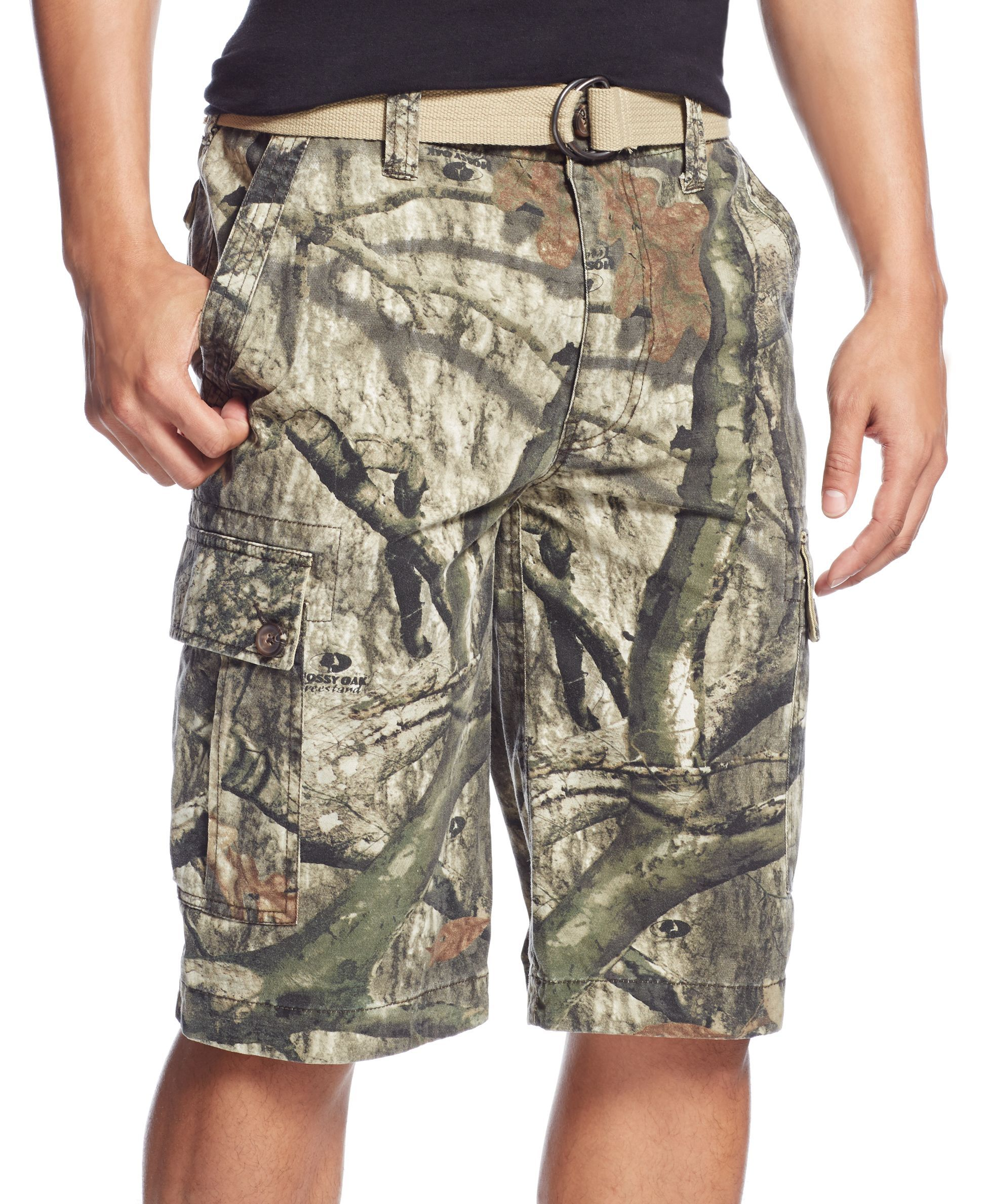 9078f85a77 Mossy Oak by Wear First Belted Tree-Camo Cargo Shorts | Clothes ...