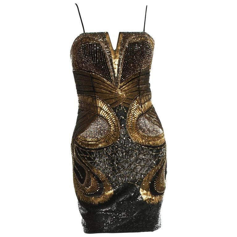 New ROBERTO CAVALLI Fully Embellished Mini Corset Gold Black Dress ... 399768ff45