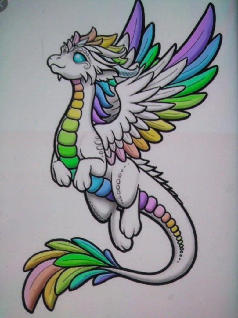 Rainbow Baby Dragon Artwork Easy Dragon Drawings Cute Dragon Drawing