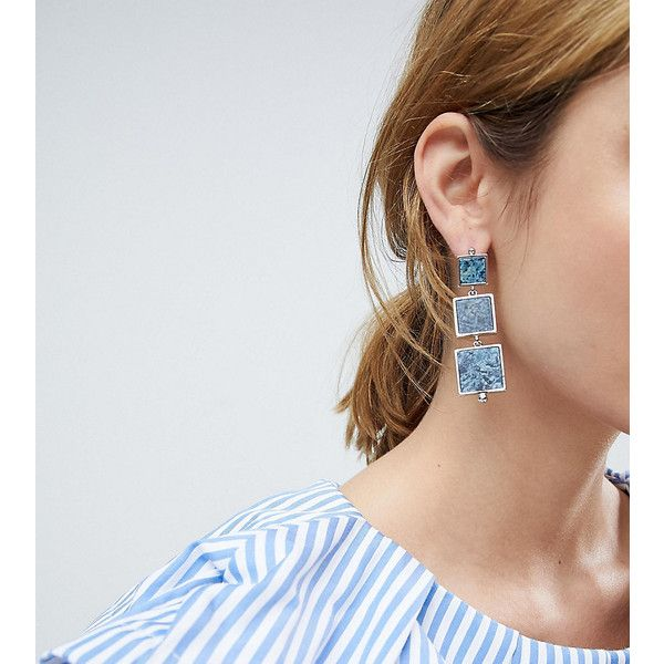 Metal Drop Earrings with Recycled Denim Stones - Silver Asos ZK6njJoC
