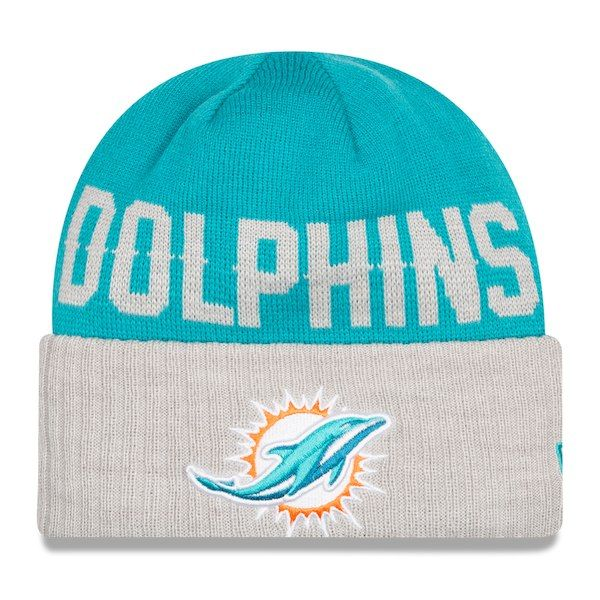 Miami Dolphins New Era Classic Cover Cuffed Knit Hat - Aqua Heather Gray   MiamiDolphins ac5524d5e
