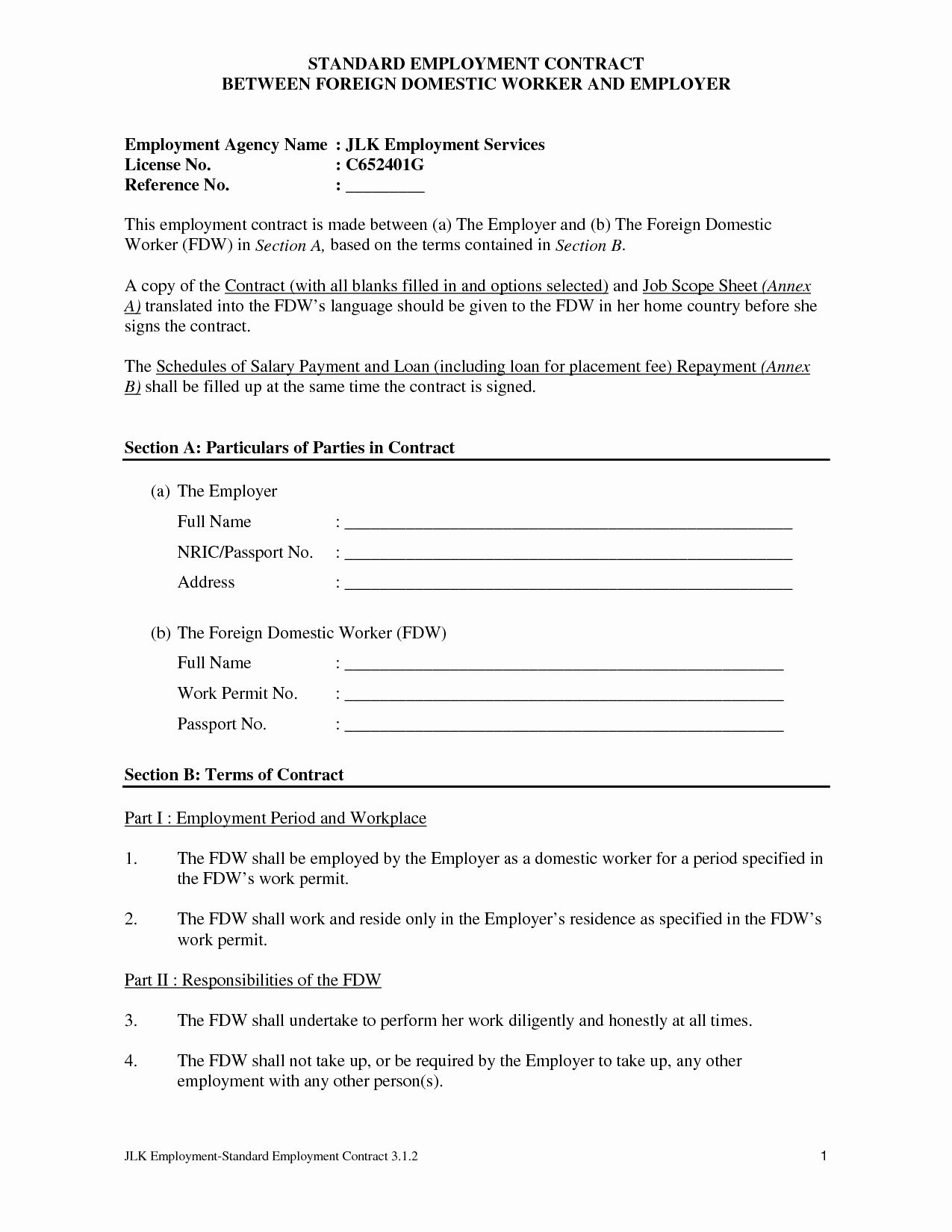 50 Free Employment Contract Template In 2020 Career Portfolio