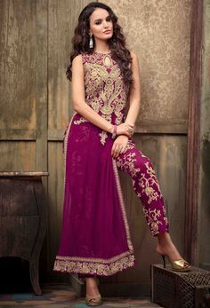 Magenta Georgette Pakistani Style Suit 54413