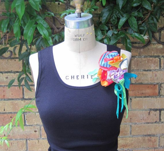 Black TANK top Up Cycled t shirt bouquet corsage by jagandnevie, $18.00