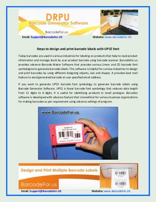 Steps To Design And Print Barcode Labels With Upce Font Pdf Barcode Labels Labels Sheet Labels