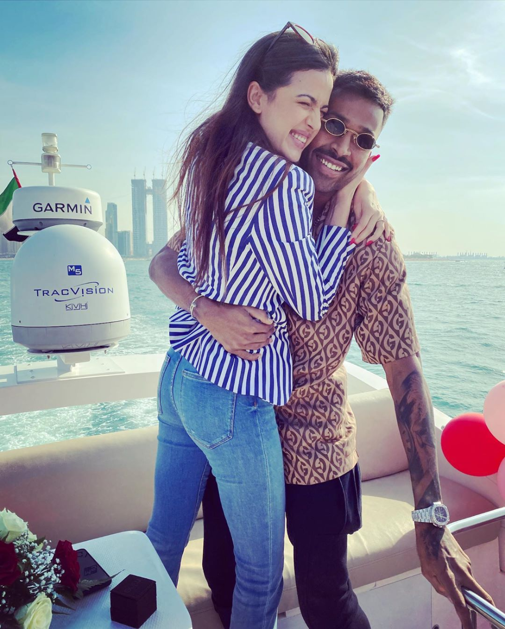 Hardik Pandya S Engagement To Natasa Stankovic On A Yacht Is Goals In 2020 Intimate Wedding Celebrity Weddings Newly Engaged Couple