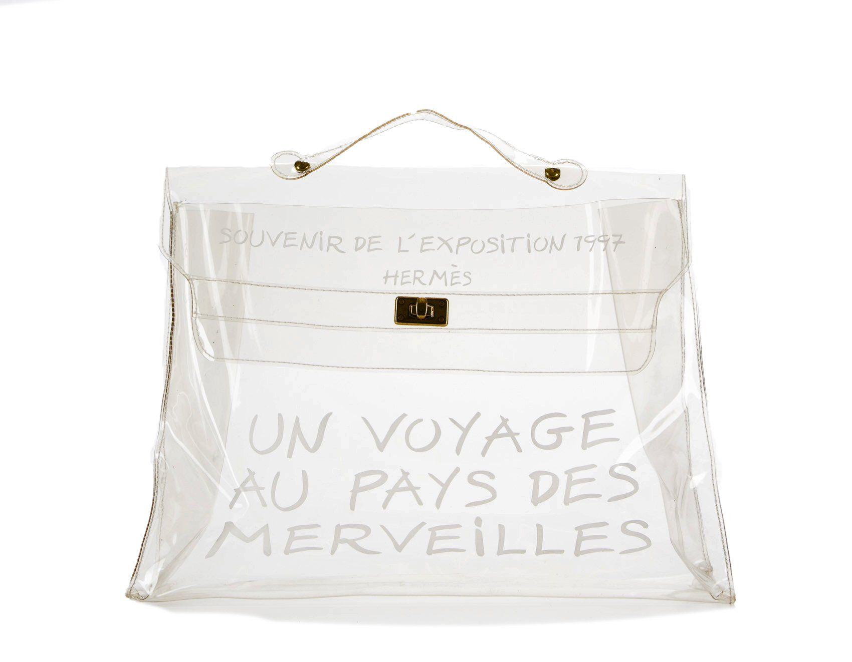 bd35d0b9a6d0 Hermes Clear Vinyl Souvenir de l'Exposition Kelly Bag | Products ...