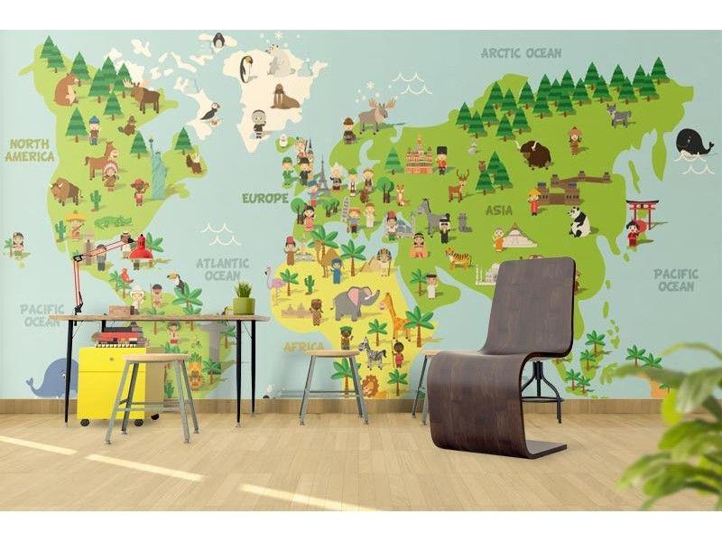 Fototapet Animacionna Karta Na Sveta Kids Room Painting Art