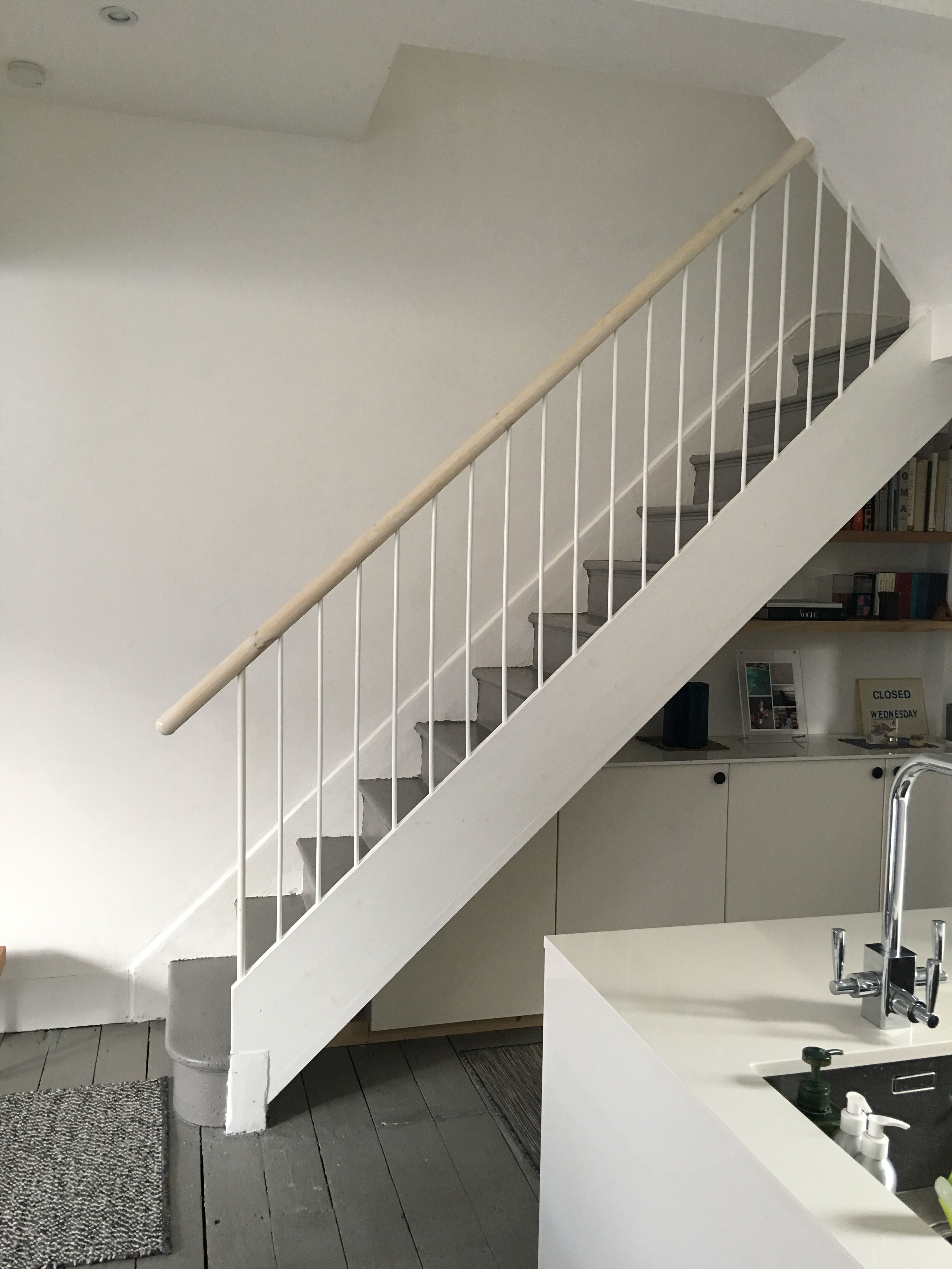 Diy Modern Stair Railing We Made In Our Old East London House Fits With Our Scandinavian Modern Style Modern Stair Railing Modern Stairs New Homes