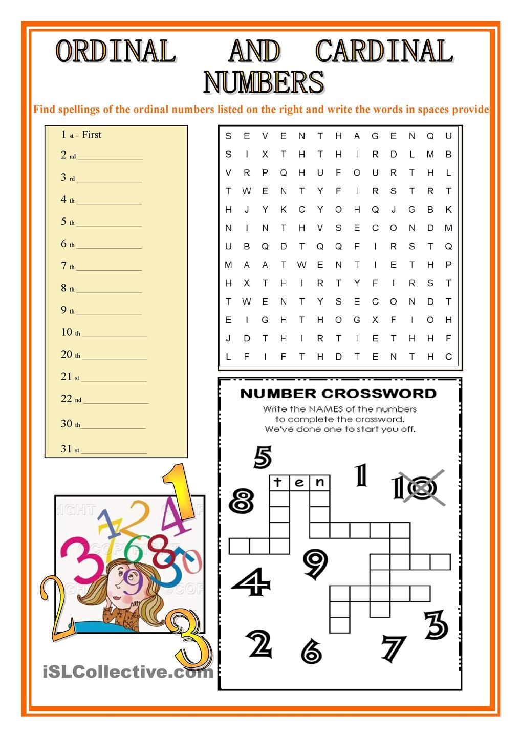 Worksheets Spanish Ordinal Numbers Worksheet ordinal and cardinal numbers english practice pinterest numbers