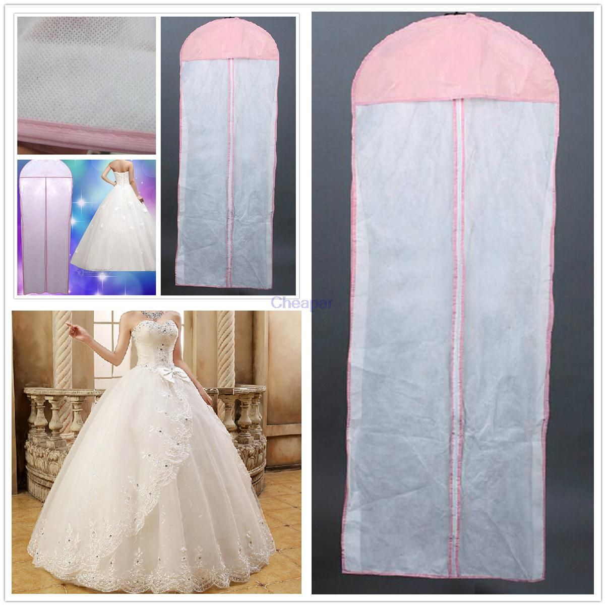 New White Breathable Wedding Prom Dress Bridal Gown Garment Hanging Storage Bag Clothes Dust Cover Zip & New White Breathable Wedding Prom Dress Bridal Gown Garment Hanging ...