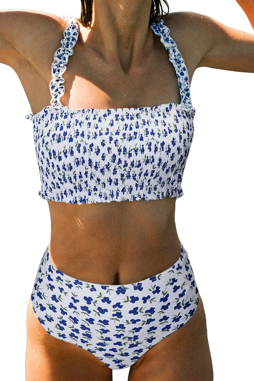 Women Bikini Swimsuit High Waist Ruffle Pleated Bathing Suit Swimwear Beachwears