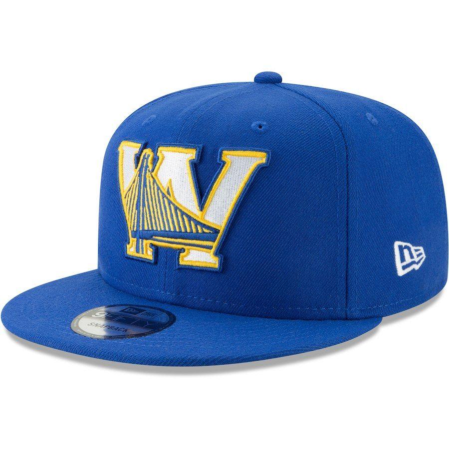Men S Golden State Warriors New Era Royal Back Half 9fifty Adjustable Hat Adjustable Hat New Era Golden State Warriors