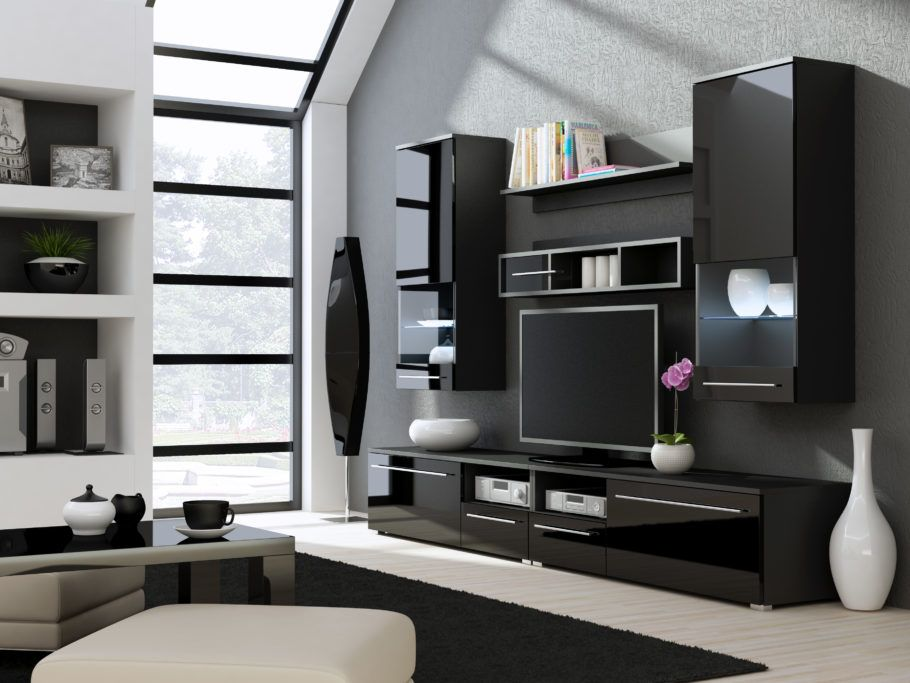 Modern Media Wall Units modern-living-rooms-tv-wall-units-design-in-black-gloss-finish