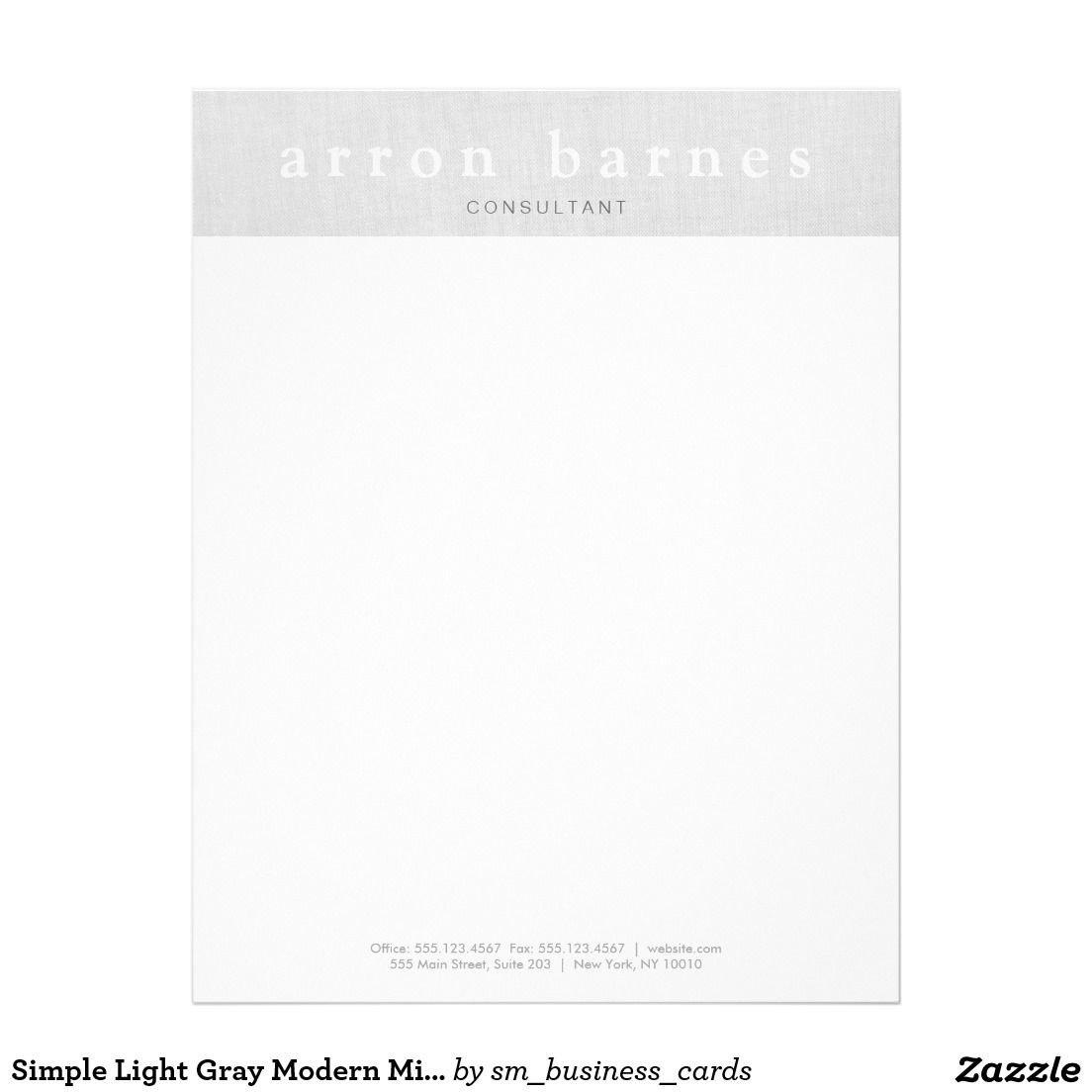 Simple Light Gray Modern Minimalist Designer Letterhead  Fasm