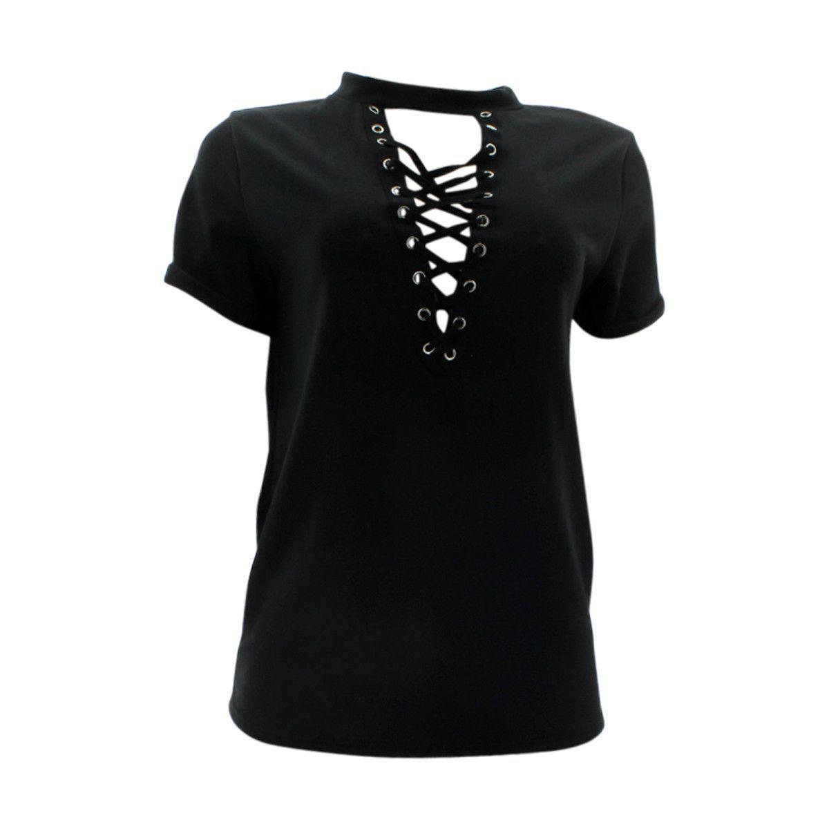 Fashion Magazine - Women's Short Sleeves Tie Up Choker Neck Top - Black