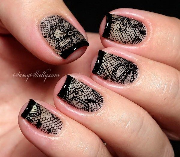 20 Romantic Lace Nail Designs   Lace nail design, Lace nails and ...