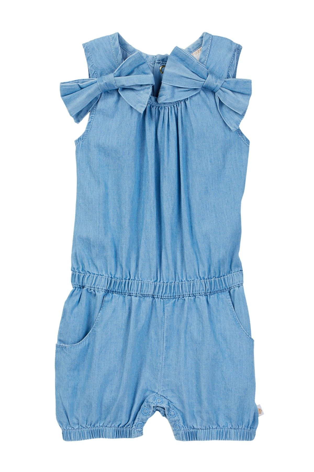 Rosie Pope Chambray Romper Baby Girls