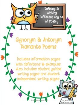 Synonym Antonym Diamante Poems