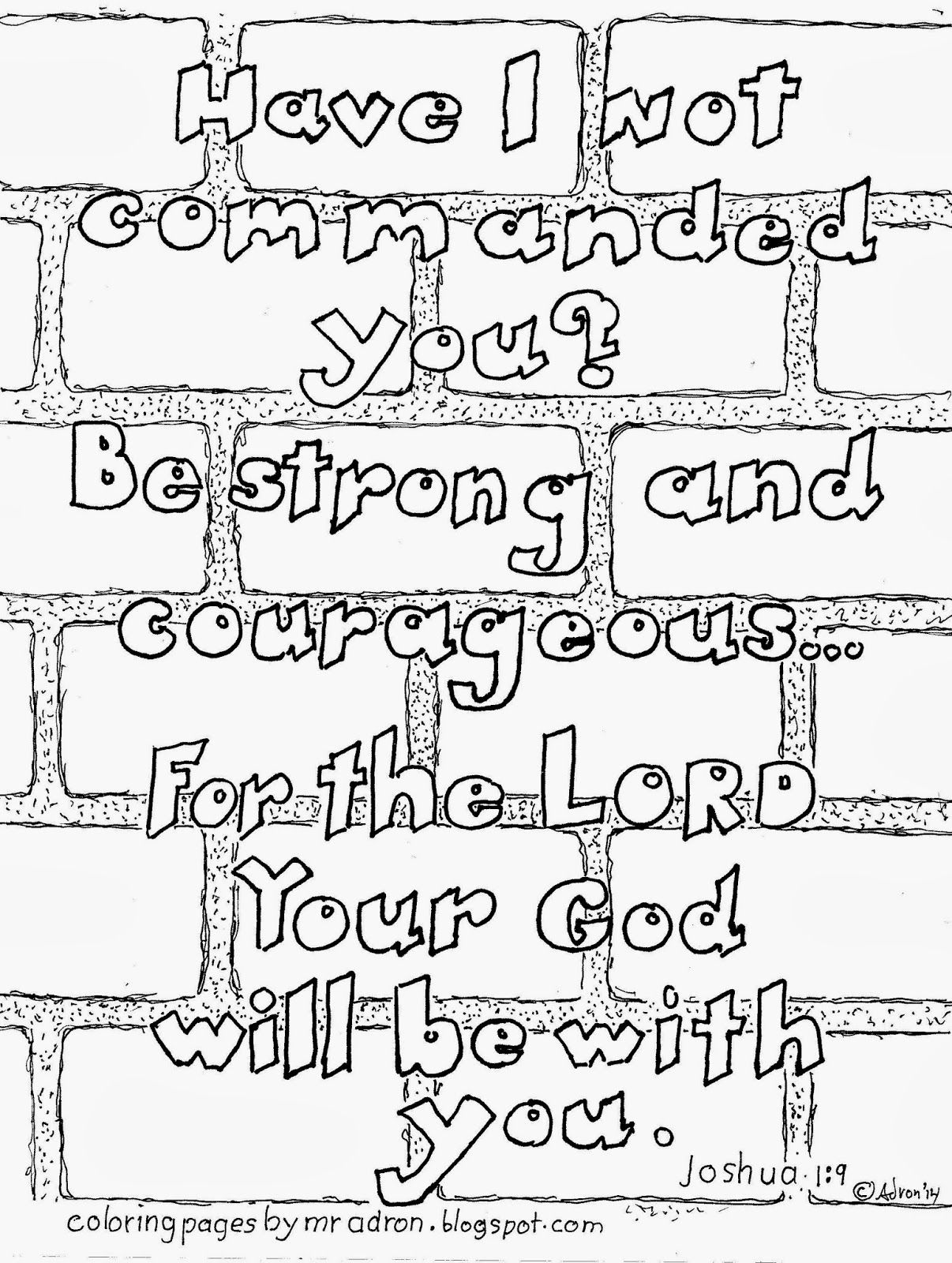 Be Strong And Courageous Joshua 1 9 Free Kid S Coloring Page