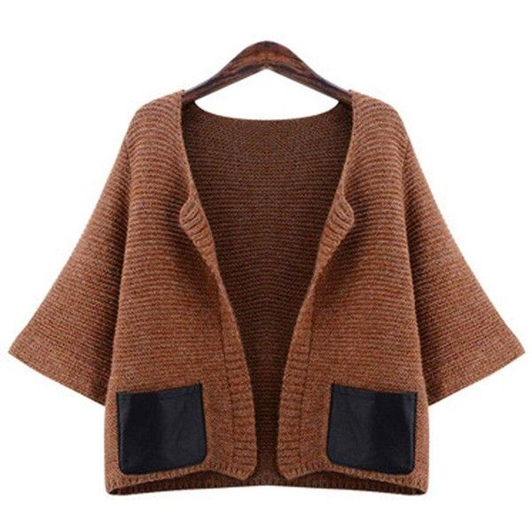 Yoins Yoins Plus Size Brown Knitted Cardigan ($35) ❤ liked on ...