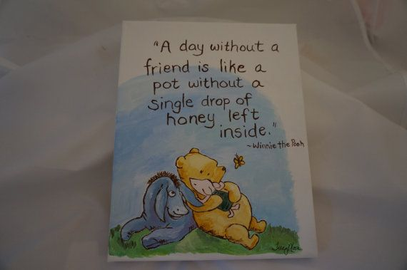 Classic Winnie Pooh hand painted canvas friends by poodlemanagerie, $8.00