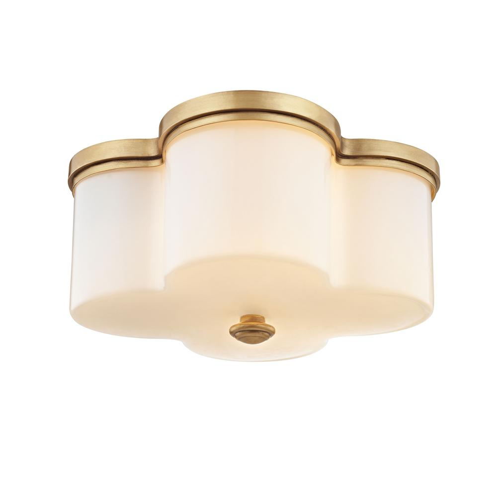 Fifth And Main Lighting Clover 2 Light Aged Brass With Opal Glass Flush Mount Wl 2041 The Home Depot In 2021 Flush Mount Ceiling Aged Brass Flush Mount Lighting