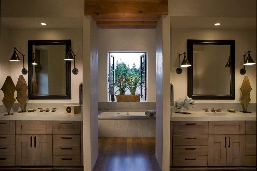Master bath with his and her 39 s concrete counters modern - Bathroom vanities san francisco area ...