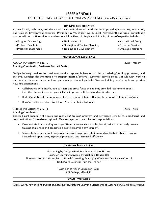Training Coordinator Resume Free Resume Templates Sample Resume Resume Examples Teaching Resume