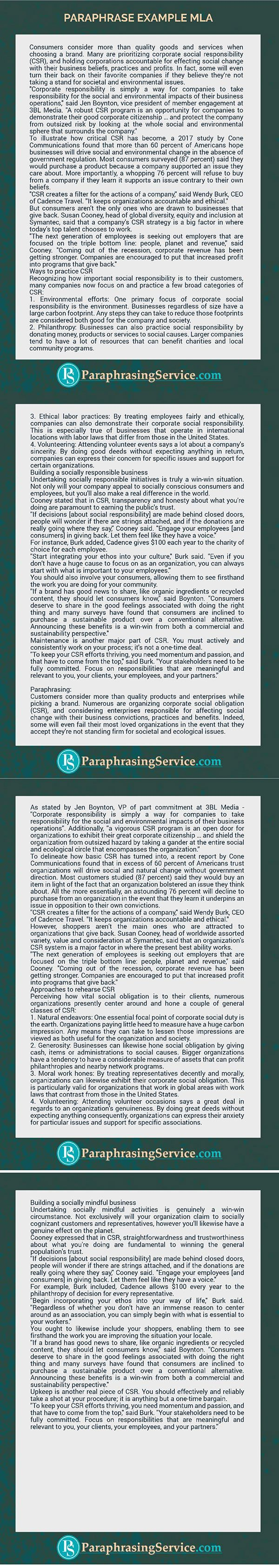 Paraphrase Example Mla That Will Show You What To Do Make Your Parparhaseing Perfect Get More Sample On Thi Site Now Http Quality Quote How Paraphrased