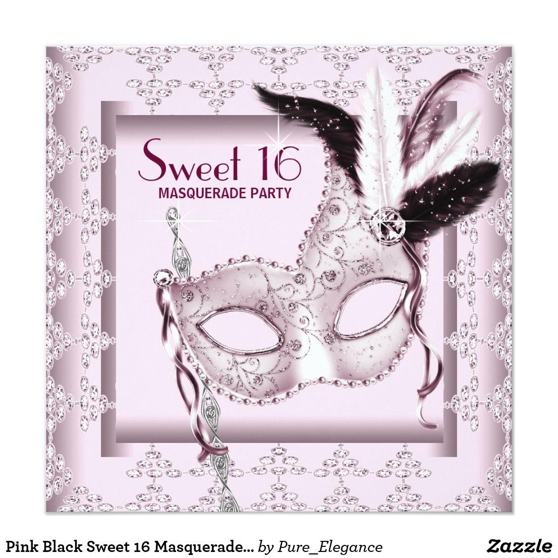 Pink Black Sweet 16 Masquerade Party Card | Sweet 16 masquerade ...