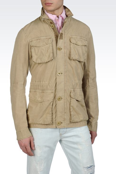 SAFARI JACKET IN COTTON LINEN  Mid-length jackets Men by Armani - 1 ... 9fbf58c4558