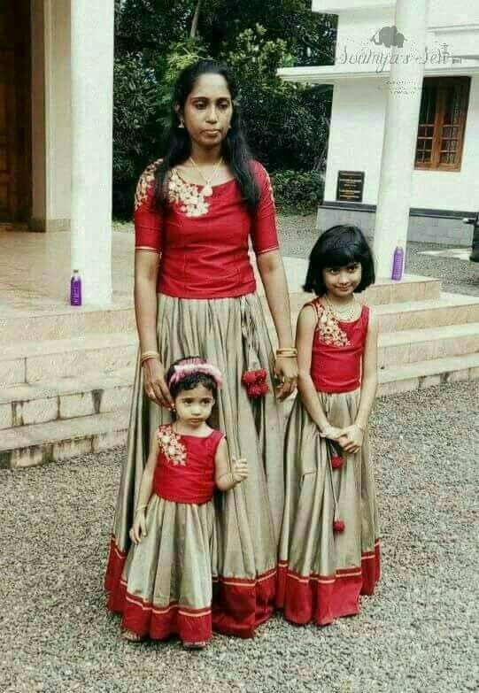 South Indian Weddings Wedding Guest Outfits Mom Daughter Mother Daughters Traditional Skirts Frock Patterns Kids Board Dress Models 50 Style